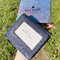 Kate Spade Lola Glitter Boxed Small L-Zip Bifold Wallet Dusk Navy Gift Box