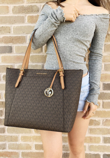 Michael Kors Ciara East West Top Zip Tote Brown MK Signature - Gaby's Bags