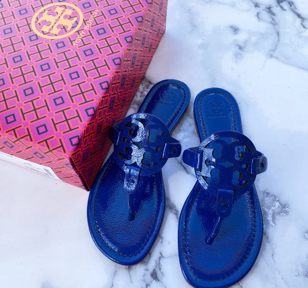 NIB Tory Burch Miller Sandals Patent Leather Naplak Nautical Blue 7.5