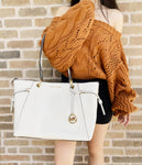 Michael Kors Nicole Tote Shoulder Grab Bag Large Drawstring Tote Vanilla Leather