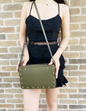 Michael Kors Jet Set East West Sandrine Stud Large Crossbody Olive