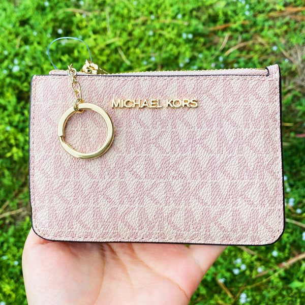 Michael Kors Jet Set Travel Small Top Zip Coin ID Card Holder Ballet Pink MK