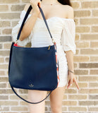 Kate Spade Kailee Tropical Toss Medium Double Compartment Shoulder Bag Dark Blue