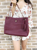 Tory Burch Whipstitch Logo Large Chain Tote Imperial Garnet Burgundy - Gaby's Bags