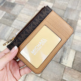 Michael Kors Jet Set Key Ring Top Zip Coin Pouch ID Card Holder Brown MK
