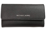 Michael Kors Jet Set Travel Large Trifold Wallet Black - Gaby's Bags