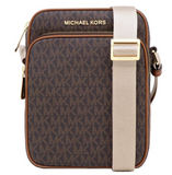 Michael Kors Jet Set Travel Signature Brown Medium Flight Bag Crossbody - Gaby's Bags