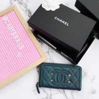 Chanel Iridescent Dark Turqoise Caviar Filigree Continental Wallet FullSet 18B - Gaby's Bags