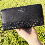 Kate Spade Greta Court Neda Zip Around Continental Wallet Glitter Black