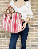 Michael Kors Greenwich Medium East West Tote Coral Reef Stripe Canvas Leather