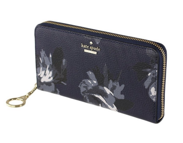 Kate Spade Brair Lane Night Rose Neda Continental Zip Around Wallet Navy