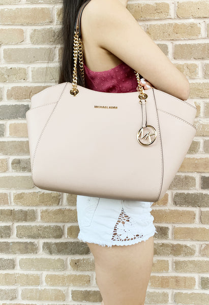 c38a2ef8e5cd Michael Kors Jet Set Travel Chain Shoulder Tote Signature Ballet Pink 2019