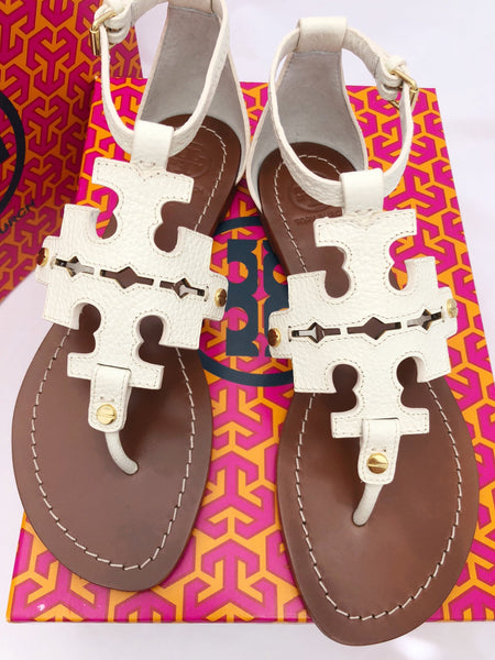 09144bb0835d ... Tory Burch Phoebe Flat Thong Sandals Ivory White Leather Miller Logo ...