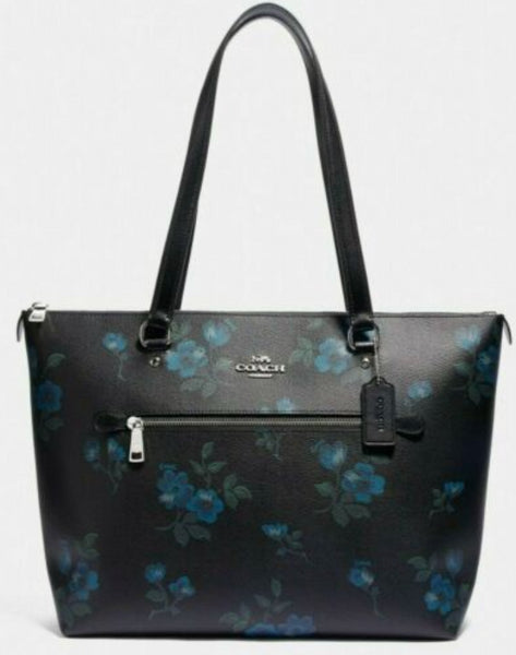 Coach Gallery Tote Shoulder Bag Blue Black Multi Floral - Gaby's Bags