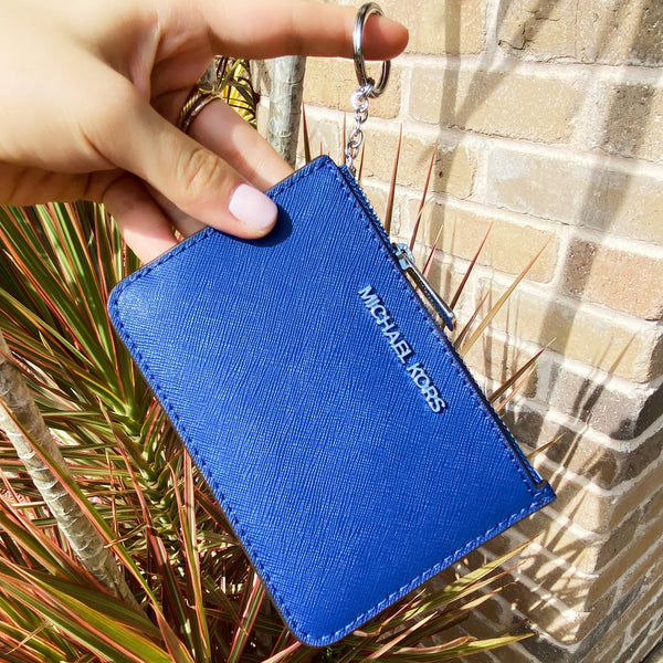 Michael Kors Jet Set Key Ring Top Zip Coin Pouch ID Card Holder Cobalt Blue