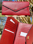 Michael Kors Mott Slim Envelop Trifold Wallet Clutch Brandy