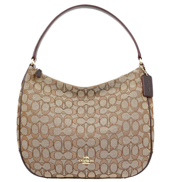 Coach F29959 Top Zip Shoulder Hobo Bag Signature Khaki Brown Canvas