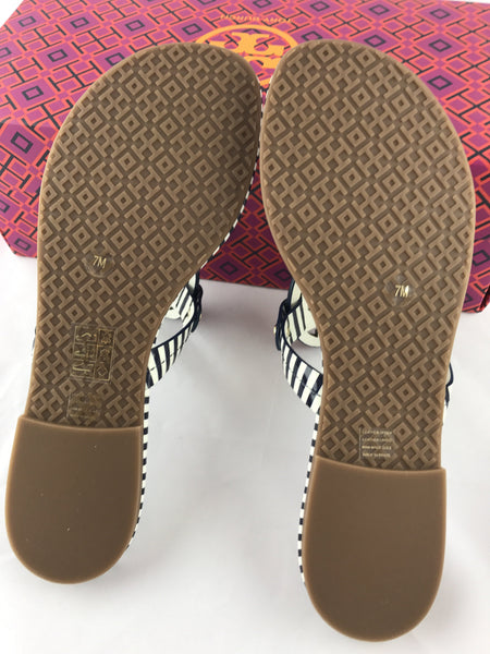 f173d613103 ... Tory Burch Miller Sandal Patent Leather Navy White Nautical Stripe 7  7.5 ...
