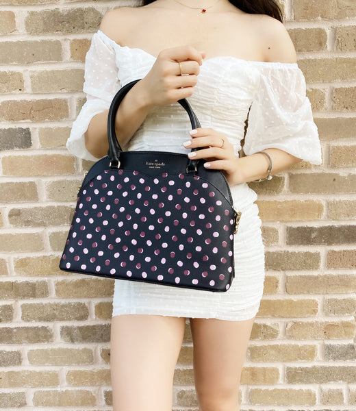 Kate Spade Payton Medium Dome Zip Satchel Crossbody Black Fiesta Polka Dot