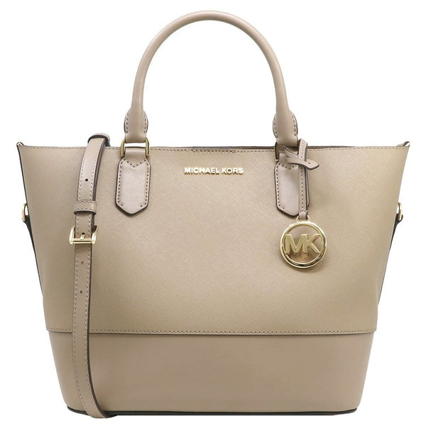 Michael Kors Trista Large Grab Bag Tote Crossbody Truffle Saffiano Leather