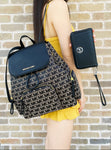 Michael Kors Abbey Large Cargo Backpack Black MK + Leather Phone Wallet