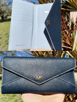 Michael Kors Money Pieces Slim Envelop Trifold Wallet Clutch Navy Multi