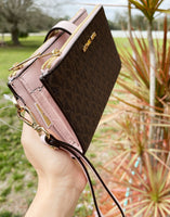 Michael Kors Jet Set Double Zip Phone Wristlet Brown Signature MK Powder Blush
