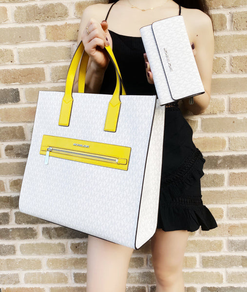 Michael Kors Kenly Large NS Tote + Jet Set Trifold Wallet White MK Citrus Yellow