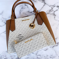 Michael Kors Kimberly Large East West Satchel + 3/4 Zip Wallet Vanilla - Gaby's Bags