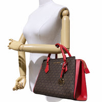 Michael Kors Hope Medium Messenger Crossbody Bag Brown MK Signature Flame Red
