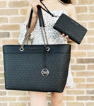 Michael Kors Shania Signature Large Chain Tote Black MK + Double Zip Wristlet