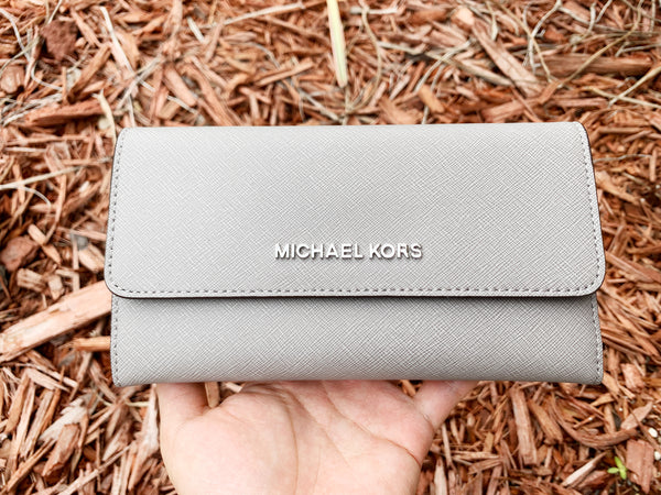 Michael Kors Jet Set Travel Large Trifold Wallet Pearl Gray Saffiano - Gaby's Bags