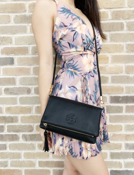 Tory Burch Taylor Mini Fold Over Crossbody Black - Gaby's Bags
