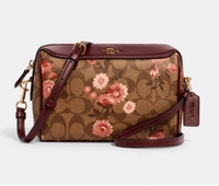 Coach Bennett Crossbody Bag Signature Canvas Khaki Floral Burgundy