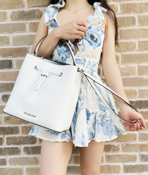 Michael Kors Suri Large Bucket Bag Messenger Saffiano Leather Optic White