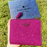 Kate Spade Lola Glitter Boxed Small L-Zip Bifold Wallet Convertible Hot Pink