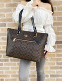 Coach F79609 Gallery City Zip Tote Signature Canvas Brown Black - Gaby's Bags