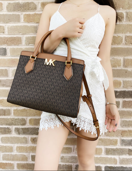 Michael Kors Mott Large Satchel Brown MK Signature PVC Leather