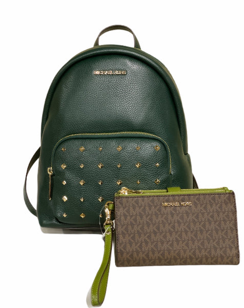 Michael Kors Erin Backpack Racing Green Studded + Large Wristlet Brown MK Evergreen