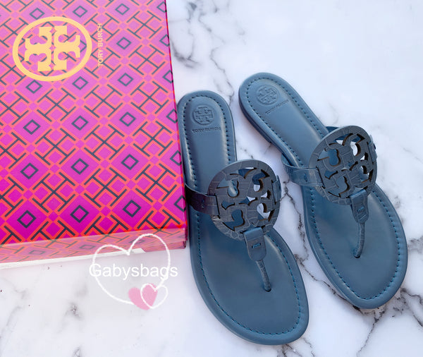 Tory Burch Miller Sandals Embossed Leather Blue Yonder 8 - Gaby's Bags