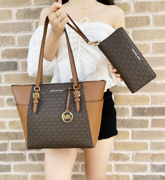 Michael Kors Charlotte Top Zip Tote Brown MK Signature + Continental Wristlet