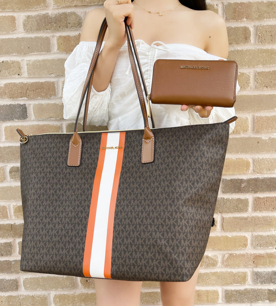Michael Kors Travel XL Center Stripe Tote Brown Tangerine + Zip Wallet