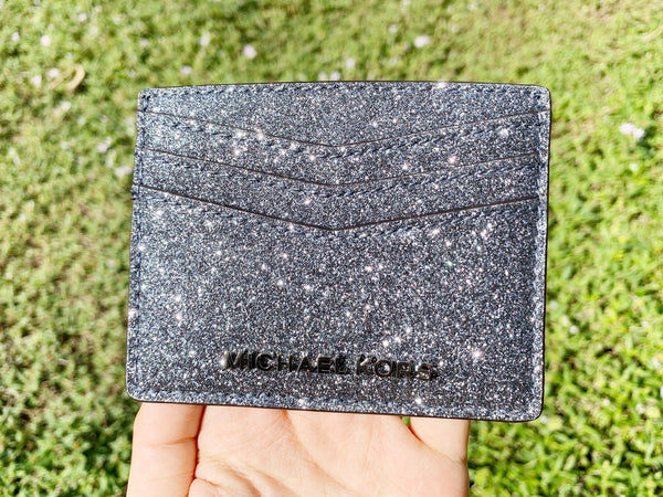 da66d291f186 Michael Kors Giftables Large Card Holder Dusty Blue Glitter