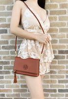 Tory Burch Taylor Mini Fold Over Crossbody Dessert Spice Tan - Gaby's Bags