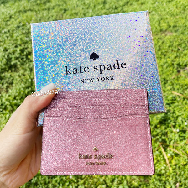 Kate Spade Lola Joeley Glitter Card Holder Wallet Rose Pink Gift Box