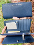 Michael Kors Jet Set Large Bifold Wallet Center Zip Navy Saffiano