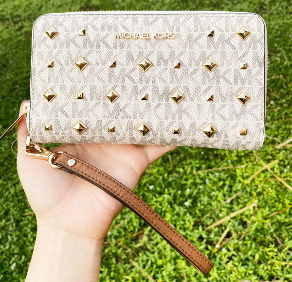 Michael Kors Jet Set Travel Large Phone Case Wristlet PVC MK Vanilla Gold Stud