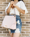 Michael Kors Nicole Medium Shoulder Tote Hobo Powder Blush Pink Suede Leather