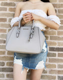 Michael Kors Charlotte Large Top Zip Satchel Crossbody Pearl Grey Crossbody