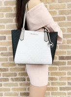 Michael Kors Kimberly Small Bonded Top Zip Tote White MK Black Grey Multi - Gaby's Bags